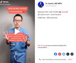Dr. Austin Chiang (@AustinChiangMD), informing viewers about concerning gastrointestinal symptoms such as nausea or diarrhea.
