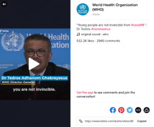 Dr. Tedros Adhanom Ghebreyesus has sent a message to young people that they are not invincible.