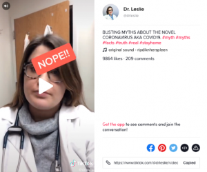 Dr Leslie posts about myth busting on TikTok